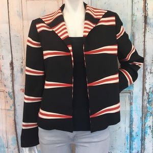 LINDA ALLARD ELLEN TRACY Black Striped Blazer